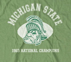 Michigan State Spartans Football Vintage T-Shirts - 1965 National Champions