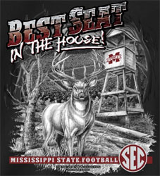 Mississippi State Bulldogs Football T-Shirts - Best Seat In The House - Hunting Deer